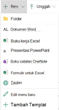 Untuk membuat file baru di pustaka dokumen, buka menu baru, lalu pilih tipe file yang Anda inginkan.