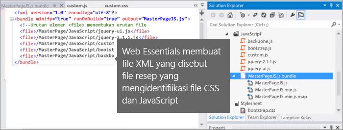 Cuplikan layar file tanda terima JavaScript dan CSS