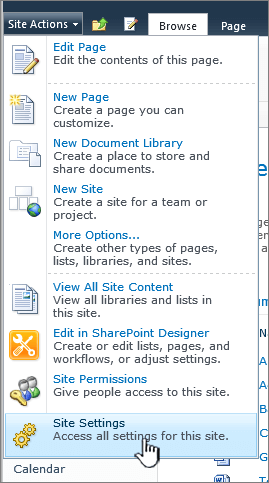 Pengaturan situs pada menu tindakan situs