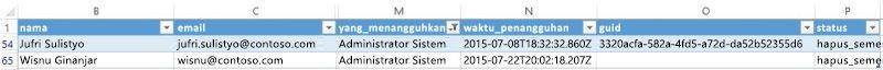 Cuplikan layar pengguna mengekspor laporan di Yammer