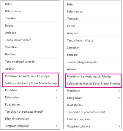 Opsi Pindahkan ke Prioritas dan Pindahkan ke Lainnya dalam Outlook di web