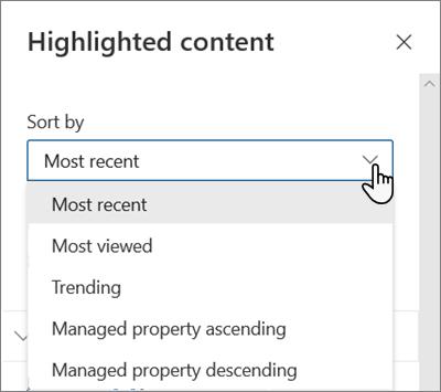 Opsi Urutkan menurut untuk komponen Web konten yang disorot dalam pengalaman SharePoint modern