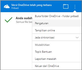 Pengaturan Lainnya pusat Aktivitas Sinkronisasi OneDrive