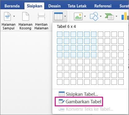 Gambar Tabel disorot untuk membuat tabel kustom