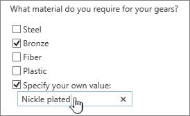 Pertanyaan survei dengan menentukan nilai Anda sendiri