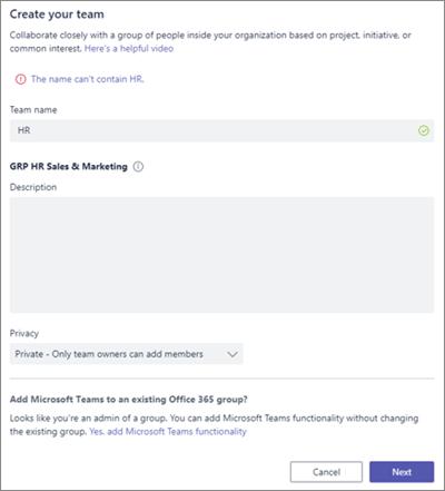 Cuplikan layar: Kebijakan grup penamaan di Microsoft Teams diblokir contoh
