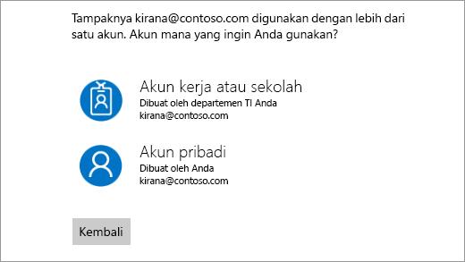 Layar dengan dua alamat email masuk