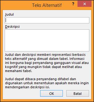 Kotak dialog teks alternatif di Excel
