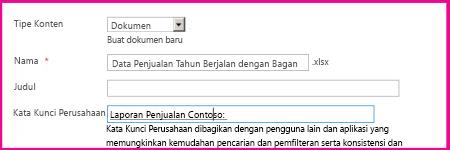 Pengguna bisa menambahkan kata kunci di dialog properti dokumen.