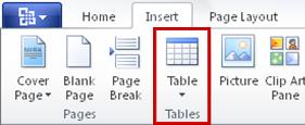 Perintah tabel pada tab Sisipkan