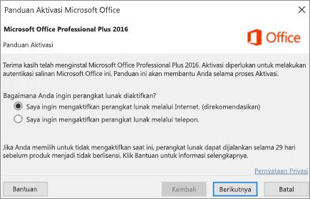 Perlihatkan panduan Aktivasi Office yang mungkin muncul setelah Anda menginstal Office.