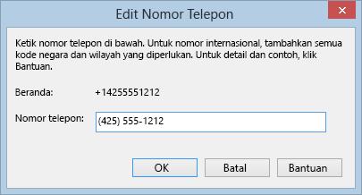 Contoh nomor telepon Lync memperlihatkan format panggilan internasional