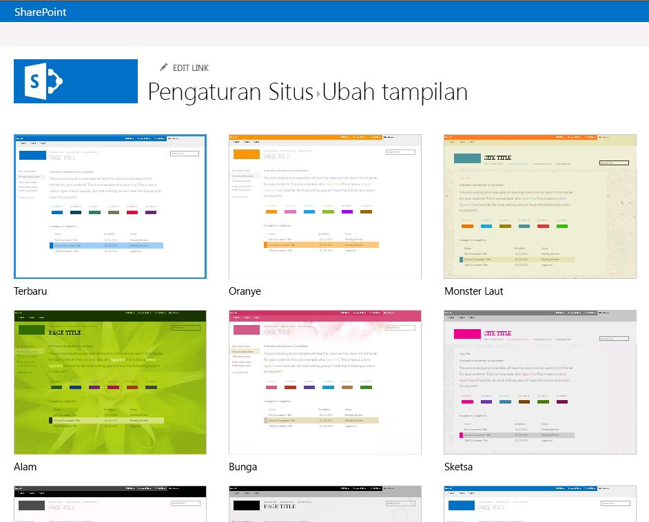 Memilih tema tampilan yang tersedia di situs penerbitan SharePoint Online