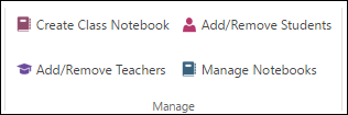 Cuplikan layar opsi untuk mengelola buku kerja Anda OneNote