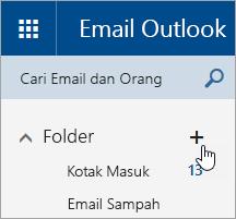 Cuplikan layar tombol Buat folder baru di Outlook.com.