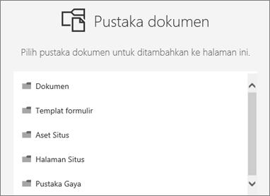 Pilih pustaka dokumen untuk meletakkan di sebuah halaman