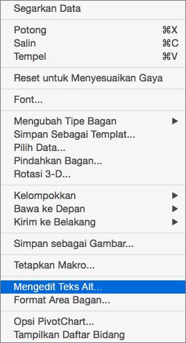 Menu Excel 365 Edit teks Alt untuk PivotChart