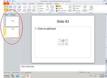 Panel yang berisi tab Kerangka dan Slide