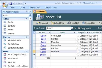 Menggunakan templat database Aset