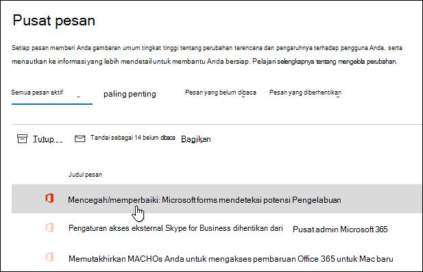 Pesan di pusat admin Microsoft 365 tentang Deteksi phishing Microsoft Forms
