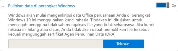 Telusuri ke sertifikat Agen Pemulihan Data.