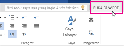 Buka Di Word dari tampilan Edit di Word Online