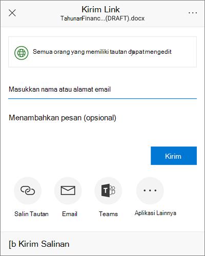 Cuplikan layar kotak dialog berbagi di Android