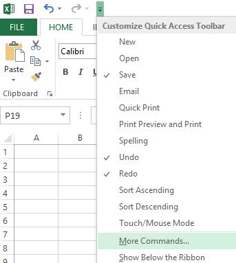 Gunakan turun bawah Kustomisasi Toolbar Akses Cepat untuk mendapatkan perintah yang belum ada di pita.
