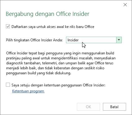 Kotak dialog Bergabung dengan Office Insider dengan opsi tingkat Insider