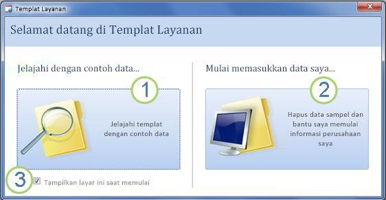 Formulir startup dari templat Database Web Services