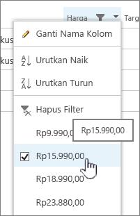 Klik header kolom, lalu pilih nilai yang ingin Anda gunakan untuk memfilter.
