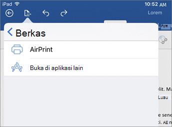 Dialog cetak di Word untuk iOS memungkinkan Anda mencetak dokumen Anda, atau buka di aplikasi lain.