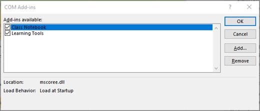 Add-in COM panel dengan buku catatan kelas dan kotak centang dicentang. Tombol OK, membatalkan, menambahkan, dan Hapus.