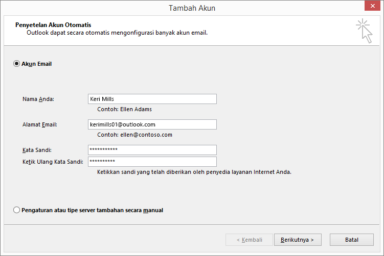 Menggunakan Penyiapan Akun Otomatis untuk menambahkan akun email sebagai bagian dari profil yang baru dibuat untuk Outlook