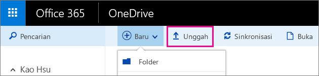 Mengunggah file ke OneDrive untuk bisnis.