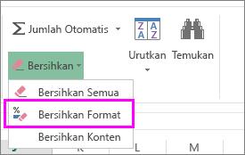 gunakan tombol hapus format untuk menghapus pemformatan