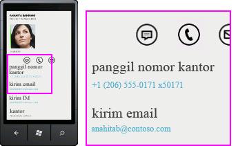 Cuplikan layar aktivitas seperti panggilan yang berfungsi di Lync untuk klien seluler