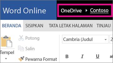 Cuplikan layar tautan navigasi remah roti di Word Online