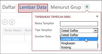 menambahkan tampilan lembar data ke sebuah tabel