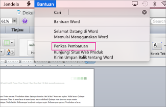 Cuplikan layar menu Office untuk Mac