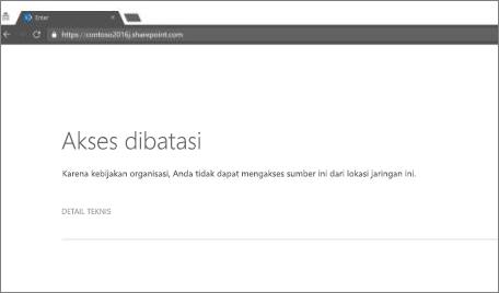 Pesan akses terbatas di browser