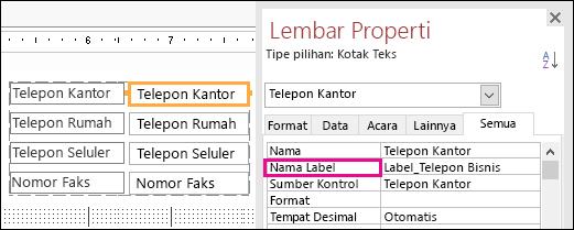 Properti Nama Label yang diperlihatkan di Lembar Properti