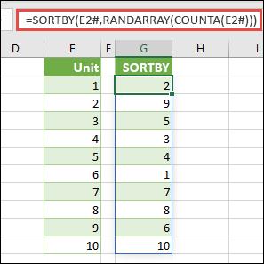 Gunakan SORTBY dengan RANDARRAY, dan COUNTA. Dalam hal ini, E2# merujuk seluruh rentang yang dimulai dari sel E2 karena sel tersebut diisi menggunakan =SEQUENCE(10). Tanda # disebut operator luapan rentang.