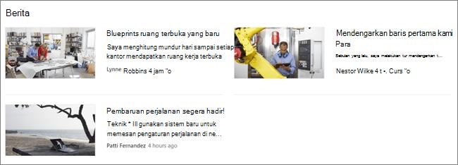 Screencap dari komponen web Berita dari situs SharePoint, di mana postingan telah difilter