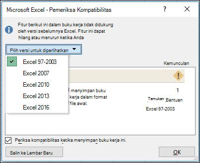Dialog pemeriksa kompatibilitas Excel