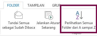Urutkan folder menurut abjad dengan mengklik Tampilkan Semua Folder A ke Z.