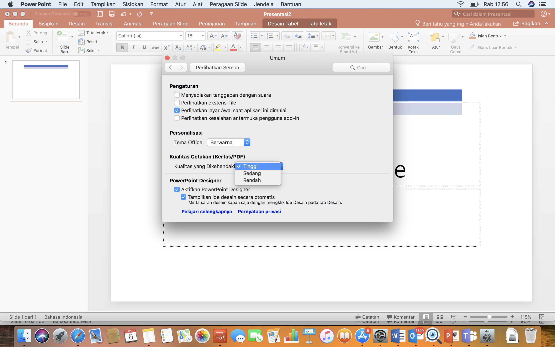 Cuplikan layar Pengaturan Kualitas Gambar