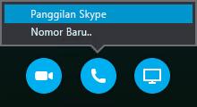 Pilih Panggil untuk menyambungkan dengan Panggilan Skype atau minta rapat untuk menghubungi Anda
