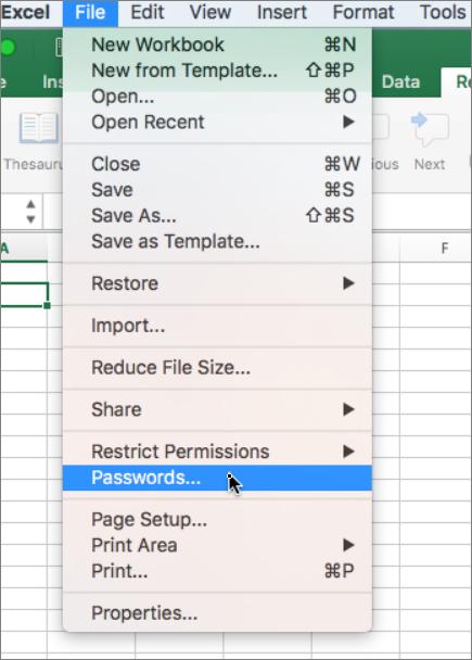 Kata sandi opsi dalam File menu