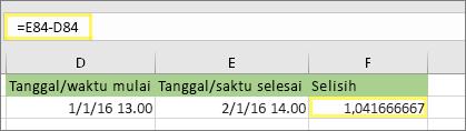 =E84-D84 dan hasilnya 1,041666667